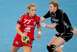 Gorica Acimovic of Krim vs Tonje Larsen of Larvik during handball match between RK Krim Mercator and Larvik HK (NOR) of Women's EHF Champions League 2011/2012, on November 13, 2011 in Arena Stozice, Ljubljana, Slovenia. Larvik defeated Krim 22-19 but both teams qualified to new round. (Photo By Vid Ponikvar / Sportida.com)