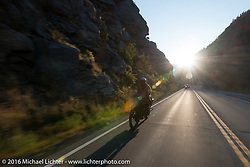 Yoshimasa Nimmi riding the team 80 1915 Indian Twin that he co-rides with Shinya Kimura during Stage 10 (278 miles) of the Motorcycle Cannonball Cross-Country Endurance Run, which on this day ran from Golden to Grand Junction, CO., USA. Monday, September 15, 2014.  Photography ©2014 Michael Lichter.