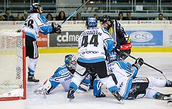 16.10.2015, Messestadion, Dornbirn, AUT, EBEL, Dornbirner Eishockey Club vs EHC Liwest Black Wings Linz, 12. Runde, im Bild v.l. Michael Ouzas , (EHC Liwest Black Wings Linz, #29), Oliver Latenresse, (EHC Liwest Black Wings Linz, #44), Nicolas Petrik, (Dornbirner Eishockey Club, #12) und Marc Andre Dorion, (EHC Liwest Black Wings Linz, #10)// during the Erste Bank Icehockey League 12th round match between Dornbirner Eishockey Club and EHC Liwest Black Wings Linz ers at the Messestadion in Dornbirn, Austria on 2015/10/16, EXPA Pictures © 2015, PhotoCredit: EXPA/ Peter Rinderer