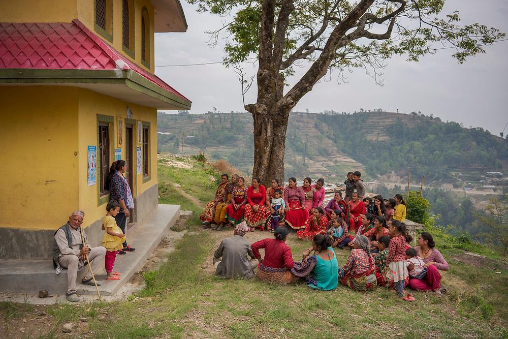 ENPHO staff lead a community training programme, teaching the principles of sanitation and hygiene., Kakani, Nuwakot District, Nepal