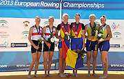 Seville. Andalusia. SPAIN. Women's Pair, Left Silver Medalist GER W2-, Middle, Gold Medalist ROM W2- ad right  Bronze Medalist UKR W2-, at the  2013 FISA European Rowing Championship.  Guadalquivir River.  Sunday   02/06/2013  [Mandatory Credit. Peter Spurrier/Intersport Images]