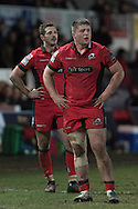 Murray McCallum (front) and Jason Tovey of Edinburgh look on. Guinness Pro12 rugby match, Newport Gwent Dragons  v Edinburgh rugby at Rodney Parade in Newport, South Wales on Sunday 27th November 2016.<br /> pic by Simon Latham, Andrew Orchard sports photography.