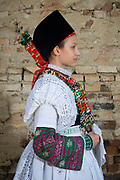Marielena is wearing the traditional dress of a Sorbian Bride in Hoyerswerda (Lausitz), Germany on June 10. 2017.
