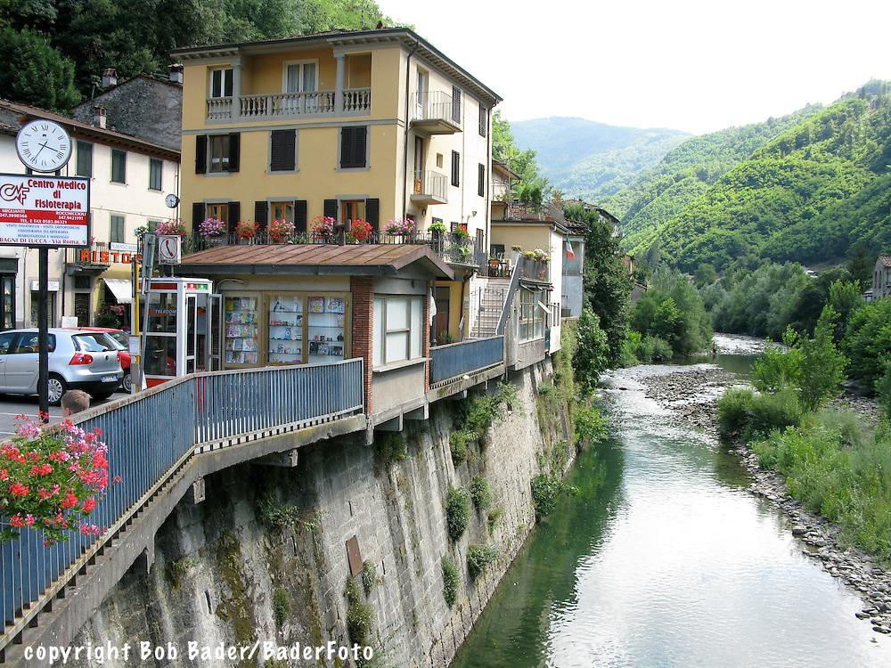 Apartments along the Serchio River in Bagni di Lucca, Italy