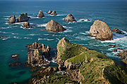 The rocky cliffs and islets at the end of Nugget Point, teem with wildlife.  Catlins, New Zealand.