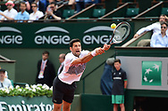 Novak Djokovic (SRB) is beaten by a strange bounce during the third round of the Roland Garros Tennis Open 2017 at Roland Garros Stadium, Paris, France on 2 June 2017. Photo by Jon Bromley.
