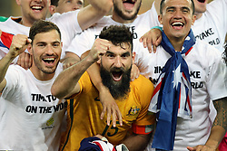 November 15, 2017 - Sydney, Australia - Mile Jedinak (C) and Tim Cahill (R) of Australia celebrate victory after winning the FIFA world cup 2018 Qualifiers intercontinental Playoff match between Australia and Honduras at Stadium Australia in Sydney. Australia won 3-1. (Credit Image: © Bai Xuefei/Xinhua via ZUMA Wire)