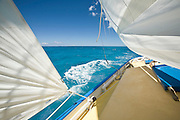 """""""Wind"""" This picture is of the space between the sails where the wind accelerates past the yacht. This is a 'Cariaccou sloop, built on a beach in the Grenadine islands of the southern Caribbean and currently working in Antigua."""
