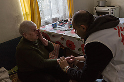 Antonina Barbushkina is 83 years old and lives alone in a bomb damaged apartment in Debalseve. She is  veteran of the second world war but is unable to draw her Ukranian state pension since the Ukranian government stopped paying pensions in to residents in the break away states in the east. Her hypertension is recurring and leaves her reliant on visits from an MSF home visits team for check ups and delivery of medicines.
