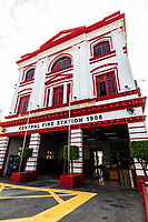 The George Town Penang Central Fire Station was once known as Beach Street Fire Station. It was built in 1908, and retains its original architecture which has been preserved in Penang's historical district. The building is a mix of architectural styles: it's classical facade blends with Mughal style 4 stores tower, with Edwardian influences for good measure.  The fire station is the oldest in Penang, and is also said to be the oldest in Malaysia.