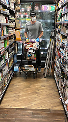 Casey Affleck wears a mask and gloves as he stocks up on supplies at a supermarket in Los Angeles which is currently on lock down!!. 20 Mar 2020 Pictured: Casey Affleck. Photo credit: P&P / MEGA TheMegaAgency.com +1 888 505 6342