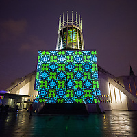 A projection on the back of the Metropolitan Cathedral.