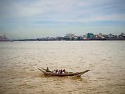 02 NOVEMBER 2014 - YANGON, MYANMAR:  Boats take commuters across the Yangon River in Yangon, Myanmar.  PHOTO BY JACK KURTZ