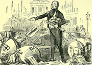 Public Health Act, 1848:  The Home Secretary, Lord Morpeth, casting pearls (the provisons of the Act) before swine (the City of London Aldermen).  Cartoon from 'Punch', London, 1848.