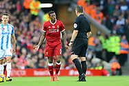 Georginio Wijnaldum of Liverpool (l) argues with Referee Kevin Friend. Premier League match, Liverpool v Huddersfield Town at the Anfield stadium in Liverpool, Merseyside on Saturday 28th October 2017.<br /> pic by Chris Stading, Andrew Orchard sports photography.