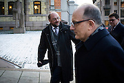 Martin Schulz arrives at the Norwegian Parliament in Oslo to attend two meetings with Norwegian Politicians.