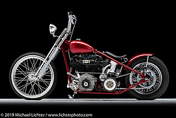 A custom motorcycle built from a 1941 FL Knucklehead, by Randall Shaffer. Photographed by Michael Lichter in Charlotte, SC, USA on 1/25/19. ©2019 Michael Lichter.