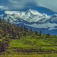 Macchapuchhare peak towers over the Pokhara Valley in Nepal.