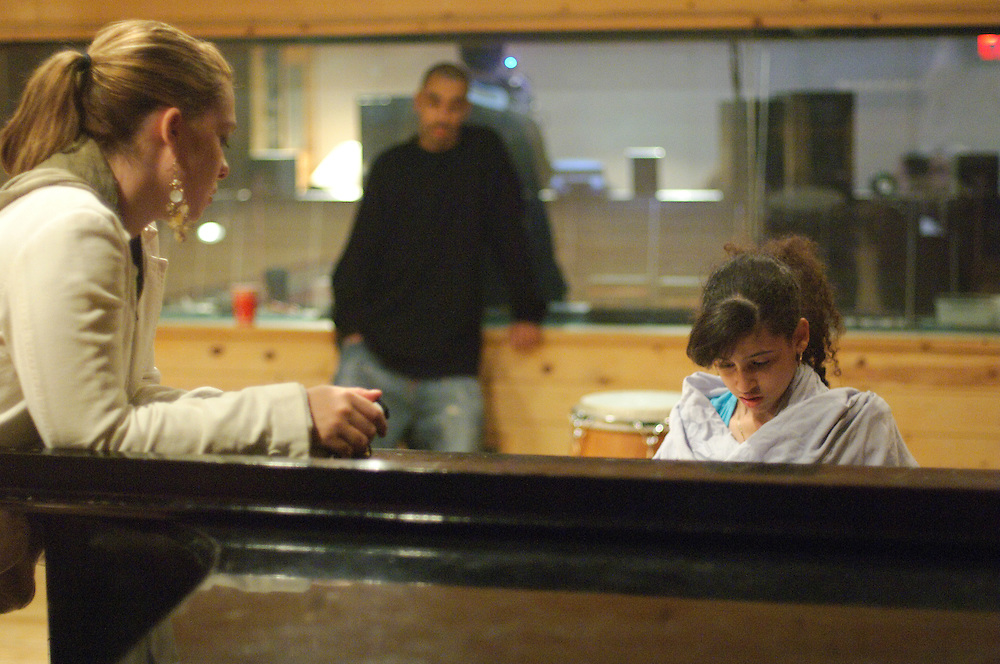 NEW YORK, NY - OCTOBER 11: American hip hop sensation Priscilla Star Diaz aka P-Star writes and records tracks for her debut album at Quad Recording Studios in a behind the scenes still from the award winning documentary, P-Star Rising on October 11, 2006 in New York, New York. (PHOTO CREDIT: Eric M. Townsend)