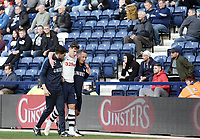 Preston North End's Josh Harrop looks to be in considerable pain as he is helped off the pitch after  receiving treatment during the second half <br /> <br /> Photographer Rich Linley/CameraSport<br /> <br /> The EFL Sky Bet Championship  - Preston North End v West Bromwich Albion- Saturday 29 September 2018 - Deepdale Stadium - Preston<br /> <br /> World Copyright © 2018 CameraSport. All rights reserved. 43 Linden Ave. Countesthorpe. Leicester. England. LE8 5PG - Tel: +44 (0) 116 277 4147 - admin@camerasport.com - www.camerasport.com