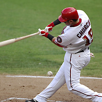 21 July 2007:  Washington Nationals left fielder Ryan Church (19) fouls a ball of his shin against the Colorado Rockies.  The Nationals defeated the Rockies 3-0 at RFK Stadium in Washington, D.C.  ****For Editorial Use Only****