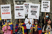 Free Tibet campaigners and members of the Hong Kong, Tibetan and Uyghur communities hold a rally opposite Downing Street as part of a global day of action in protest against the Beijing 2022 Winter Games on 23rd June 2021 in London, United Kingdom. Speakers condemned the International Olympic Committee IOC for its insistence that the Beijing 2022 Winter Games should go ahead in spite of the Chinese governments human rights violations against the Uyghur people and in Tibet, Hong Kong and Southern Mongolia and called on the UK government and British Olympic Association to boycott the games.