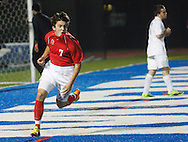 Maximilian Heffron (7) of Friends Academy celelbrates after scoring a goal against Lake George in a Class C state semifinal game at Faller Field in Middletown on Saturday, Nov. 16, 2013. (Tom Bushey – Special to The Post-Star)