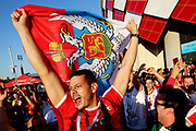 Serbia fans enjoy the pre match atmosphere prior to the 2018 FIFA World Cup Russia group E match between Serbia and Brazil at Spartak Stadium on June 27, 2018 in Moscow, Russia.