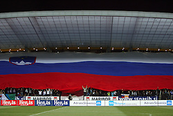 Slovenian flag in the Stadium Ljudski vrt before the 8th day qualification game of 2010 FIFA WORLD CUP SOUTH AFRICA in Group 3 between Slovenia and Czech Republic at Stadion Ljudski vrt, on March 28, 2008, in Maribor, Slovenia. Slovenia vs Czech Republic 0 : 0. (Photo by Vid Ponikvar / Sportida)