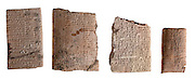 Four Cuneiform clay tablets with administrative text circa 2000 BCE