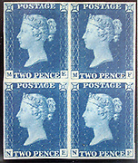 """Unused block of four """"Two Penny Blue"""" postage stamps of Queen Victoria issued May 8, 1840 After a design by William Wyon"""