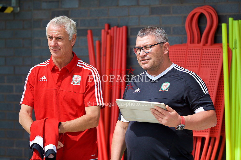 NEWPORT, WALES - Sunday, May 28, 2017: Elite Performance Director Ian Rush with Osian Roberts during day three of the Football Association of Wales' National Coaches Conference 2017 at Dragon Park. (Pic by David Rawcliffe/Propaganda)