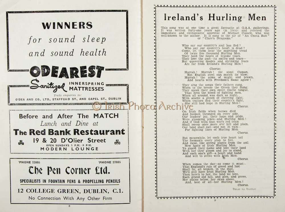 All Ireland Senior Hurling Championship Final, .Brochures,.05.09.1943, 09.05.1943, 5th September 1943, .Antrim 0-4, Cork 5-16,.Minor Dublin v Kilkenny, .Senior Antrim v Cork, .Croke Park, ..Advertisements, Odearest Sanitized Innerspring Mattresses, The Red Bank Restaurant, The Pen Corner Ltd., ..Songs, Ireland's Hurling Men,