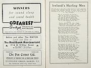 All Ireland Senior Hurling Championship Final, .Brochures,.05.09.1943, 09.05.1943, 5th September 1943, .Antrim 0-4, Cork 5-16,.Minor Dublin v Kilkenny, .Senior Antrim v Cork, .Croke Park, ..Advertisements, Odearest Sanitized Innerspring Mattresses, The Red Bank Restaurant, The Pen Corner Ltd., ..Songs, Ireland's Hurling Men,