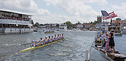 """Henley, England. """"All American Affair"""" Final of the Ladies Challenge Plate, left lane, Yale University USA. take a win against University of Washington, USA. in the first race of the afternoon programme at the  2015 Henley Royal Regatta, Henley Reach, River Thames. 14:37:27  Sunday  05/07/2015   [Mandatory Credit. Peter SPURRIER/Intersport Images. .   Empacher."""