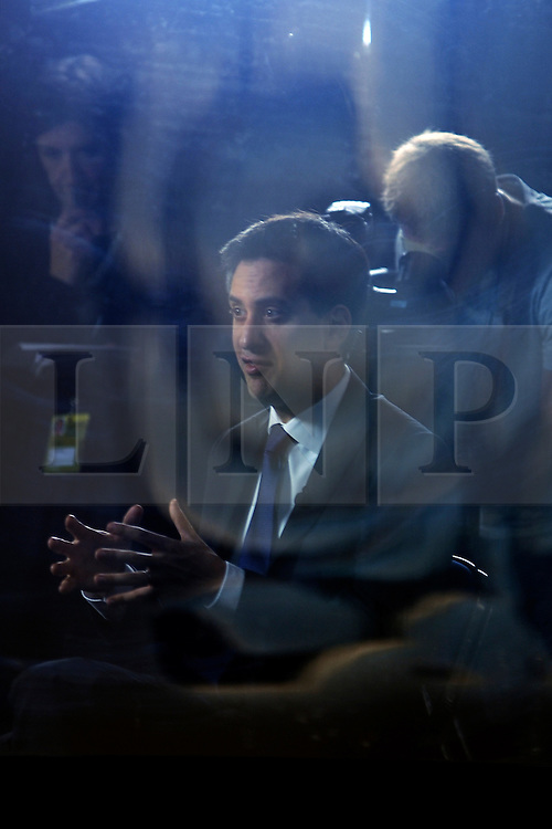 © Licensed to London News Pictures. 29/09/2011. LONDON, UK. Ed Miliband, the Leader of the Labour Party takes part in a live TV interview in a temporary studio in the conference arena at The Labour Party Conference in Liverpool today (29/09/11). Photo credit:  Stephen Simpson/LNP
