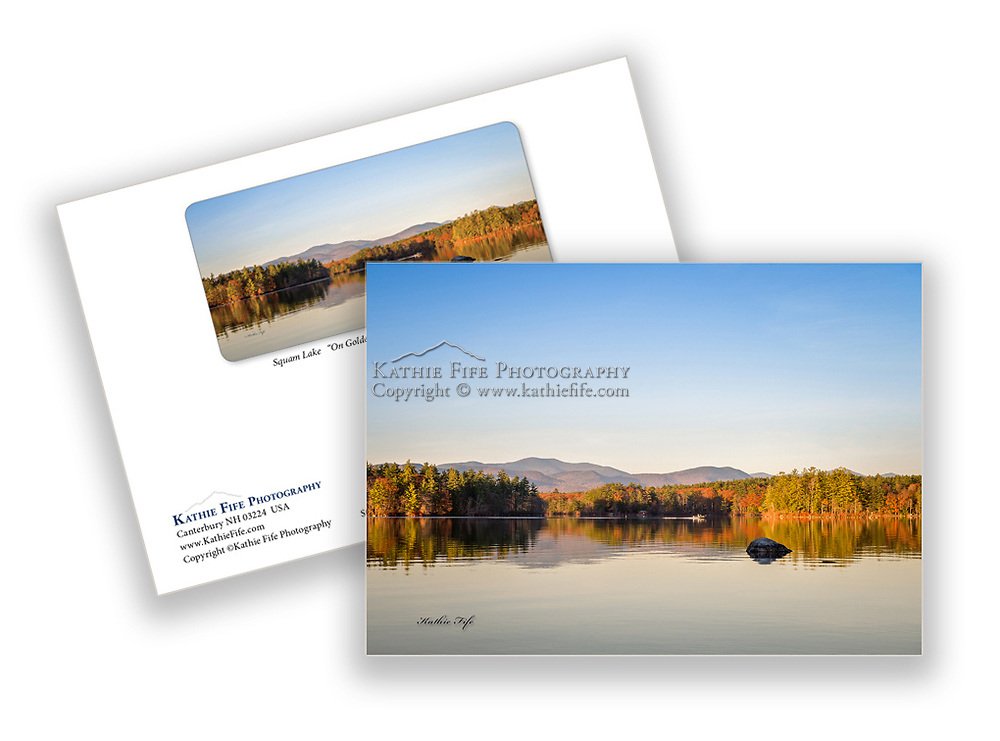 Special Edition Squam Lake On Golden Pond greeting card. <br /> 5x7 on thick 100% FSC Recycled Paper.<br /> Printed in the USA.<br /> Acid Free paper, perfect for framing.