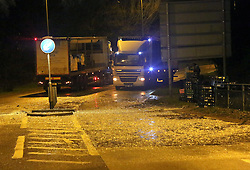 Southampton,Hampshire  4th February 2016 A spillage of milk bottles led to the closure of a section of one of the major routes into Southampton city centre earlier.<br /> <br /> Hampshire fire service said about 1,000 litres of milk came off the lorry on the A3024 at Bursledon.<br /> <br /> The service said it had sent its Hazard Area Response Team to the scene to prevent the milk from getting into nearby water courses.<br /> <br /> The road has since reopened between the Windhover Roundabout and the B3033.<br /> <br /> The driver of the 44-tonne lorry is not believed to be injured.©UKNIP