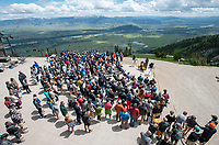 Friends and family of Bryce Newcomb gather for a celebration of life for the late big mountain skier Friday at the top of the Bridger Gondola at Jackson Hole Mountain Resort. Newcomb died June 15 as a result of injuries he suffered in March when a cornice broke beneth him while ascending Cody Peak south of the resort's boundary.