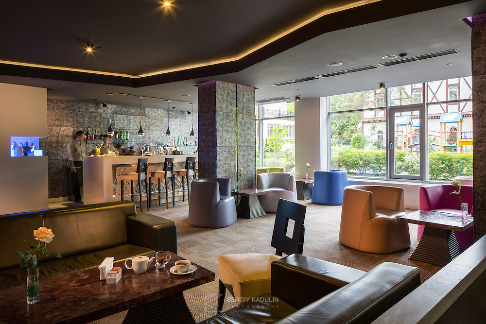 Interior view of lobby bar of Mirotel Resort & Spa hotel. Mirotel is 5* resort located in the heart of Truskavets, in western Ukraine.