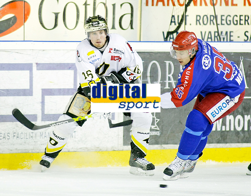 Ishockey , 17. Februar 2008 , GET ligan , Vålerenga - Stavanger ,  Brendan Brooks Stavanger , Aleksander Nervik VIF , Foto: Thomas Andersen , Digitalsport