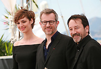 Actress Louise Bourgoin, director Laurent Lariviere and actor Jean-Hugues Anglade at the Je Suis Un Soldat – I Am A Soldier film photo call at the 68th Cannes Film Festival Tuesday May 20th 2015, Cannes, France.