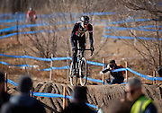 SHOT 1/12/14 1:47:34 PM - Jeremy Powers (#3) of Easthampton, Ma. warms up before competing in the Men's Elite race at the 2014 USA Cycling Cyclo-Cross National Championships at Valmont Bike Park in Boulder, Co. Powers won the event with a time of 59:16.  (Photo by Marc Piscotty / © 2014)