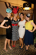 Aislinn Mulreany, Michelle Heaney, Marie Louise Neary and Emma Mulhearn all from Donegal Town at Hotel Meyrick in Eyre Sq. Galway for their best dressed Lady Competition during Galway's Race week . Photo:Andrew Downes.