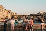 FLORENCE: selfies on Ponte Santa Trinità in front of Ponte Vecchio