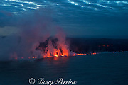 lava ocean entry at Ahalanui, where the lava river erupted from fissure 8 of the Kilauea Volcano east rift zone in Leilani Estates subdivision, near Pahoa, meets the Pacific Ocean in Kapoho, lower Puna District, Hawaii Island ( the Big Island ), Hawaiian Islands, U.S.A. ( Pacific Ocean )