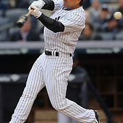 Brian Roberts, New York Yankees, batting during the New York Yankees V Baltimore Orioles home opening day at Yankee Stadium, The Bronx, New York. 7th April 2014. Photo Tim Clayton