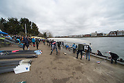 London, Great Britain.<br /> General Views crew boating from, Cygnet and Barnes Bridge Ladies in preparation for the<br /> 2016 Head of the River Race, Reverse Championship Course Mortlake to Putney. River Thames. Saturday  19/03/2016<br /> <br /> [Mandatory Credit: Peter SPURRIER;Intersport images]