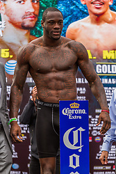 LOS ANGELES, CA - DEC 14: 2008 Olympic Bronze Medalist boxer Deontay ?Bronze Bomber? Wilder at the Khan vs Molina official weigh-in at the Los Angeles Sports Arena in Los Angeles, CA 2012/12/14. Byline, credit, TV usage, web usage or linkback must read . Byline and/or web usage link must  read PHOTO: © Eduardo E. Silva/SILVEX.PHOTOSHELTER.COM.