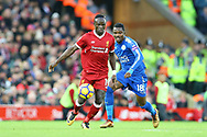 Sadio Mane of Liverpool shields the ball from Daniel Amartey of Leicester City. Premier League match, Liverpool v Leicester City at the Anfield stadium in Liverpool, Merseyside on Saturday 30th December 2017.<br /> pic by Chris Stading, Andrew Orchard sports photography.